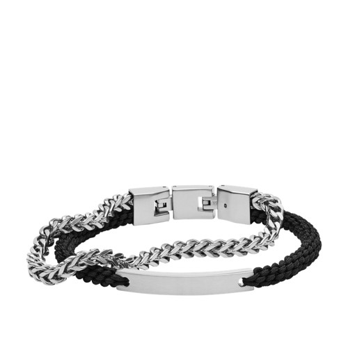 Double-Strand Nylon and Silver-Tone Steel Bracelet JF03325040