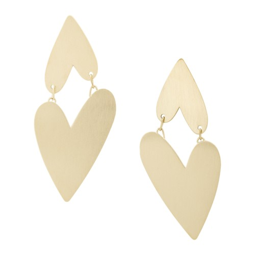 Two Hearts Gold-Tone Stainless Steel Drop Earrings JF03334710