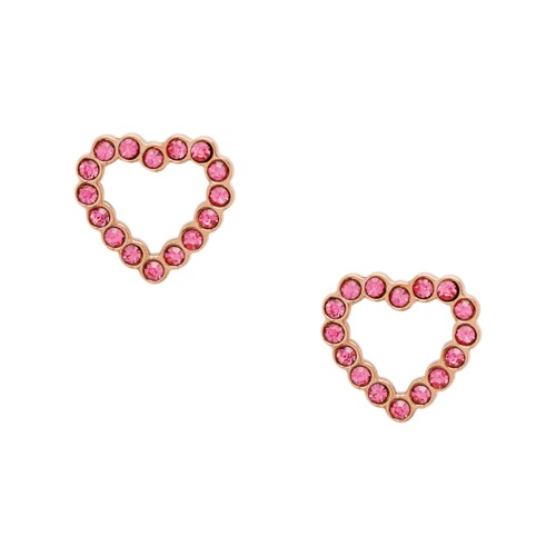 To The Heart Fuchsia Stainless Steel Stud Earrings JF03336791