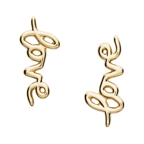Love Collection Gold-Tone Stainless Steel Climber Earrings JF03337710