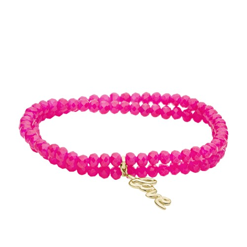 Fossil Love Collection Fuchsia Beaded Bracelet  jewelry GOLD