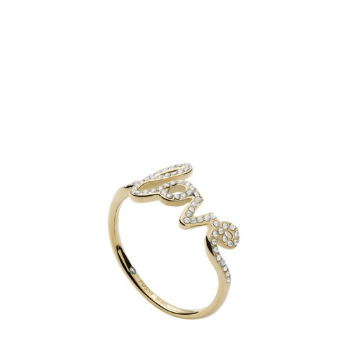 Love Collection Gold-Tone Stainless Steel Band Ring JF033457106.5