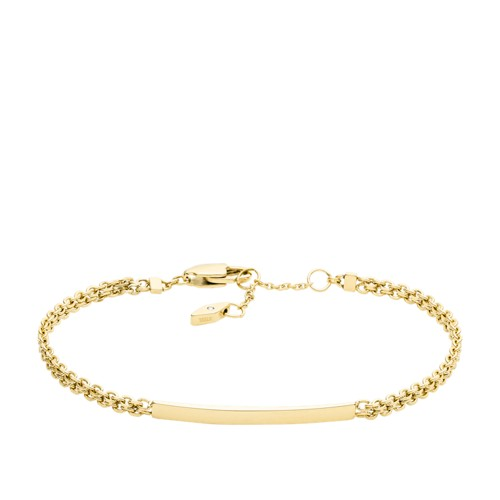 Fossil Gold-Tone Stainless Steel Id Bracelet  jewelry GOLD