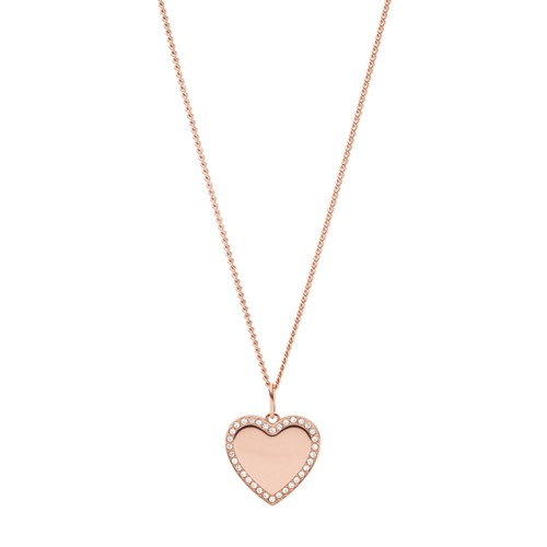 Fossil Be Mine Rose Gold-Tone Stainless Steel Pendant Necklace  jewelry ROSE GOLD