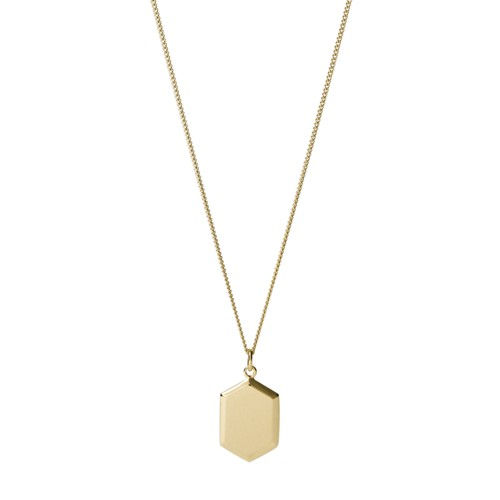 Fossil Gold-Tone Stainless Steel Pendant Necklace  jewelry GOLD