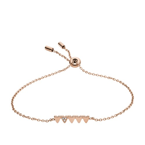 Stacked Hearts Rose Gold-Tone Stainless Steel Chain Bracelet JF03368791