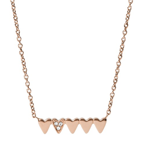 Stacked Hearts Rose Gold-Tone Stainless Steel Chain Necklace JF03369791