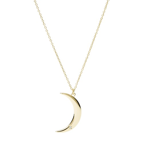 Moon Gold-Tone Stainless Steel Pendant Necklace JF03379710