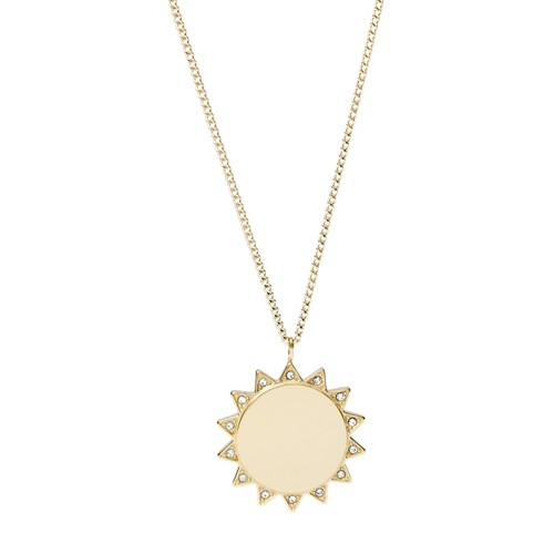 Sun Gold-Tone Stainless Steel Pendant Necklace JF03380710