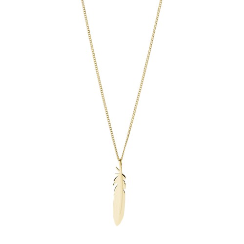 Feather Gold-Tone Stainless Steel Pendant Necklace JF03381710