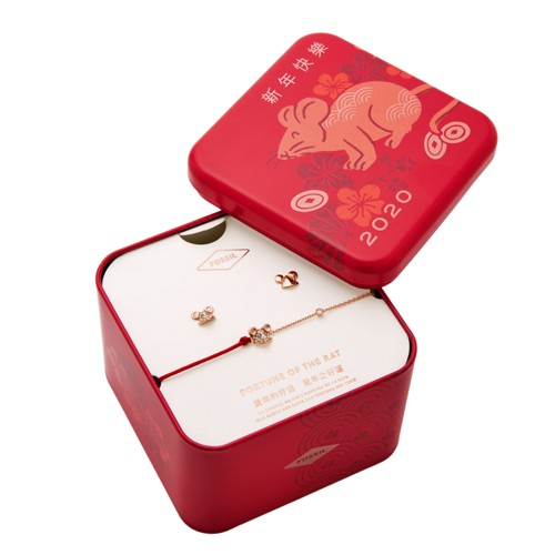 Fossil Lunar New Year Red Stainless Steel Set  jewelry ROSE GOLD