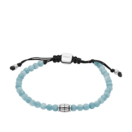 Fossil Blue Dyed Jade Beaded Bracelet  jewelry SILVER