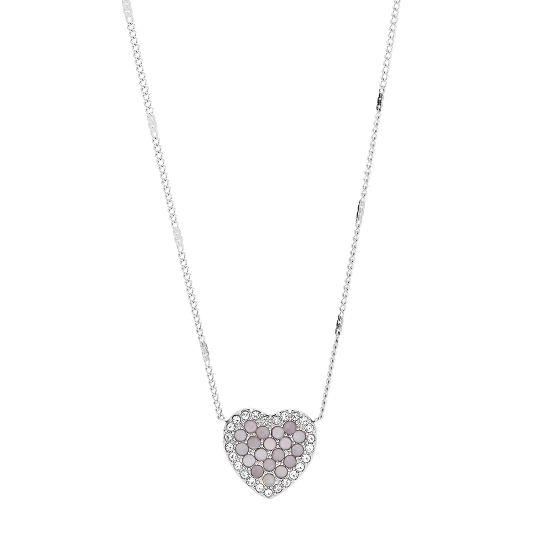Fossil Mosaic Heart Stainless Steel Necklace Jf03415040 jewelry SILVER- JF03415040-WSI