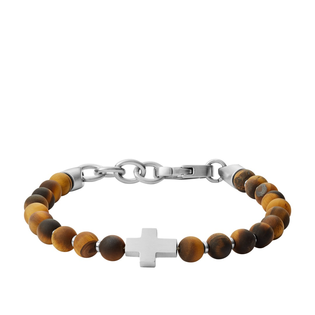 Fossil Tiger&Apos;S Eye And Stainless Steel Beaded Bracelet Jf03416040 jewelry SILVER- JF03416040-WSI