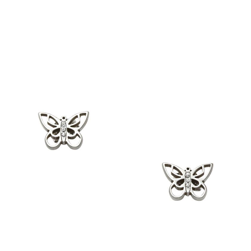 Schmetterlings-Ohrstecker aus Edelstahl mit funkelnden Glassteinchen besetzt
