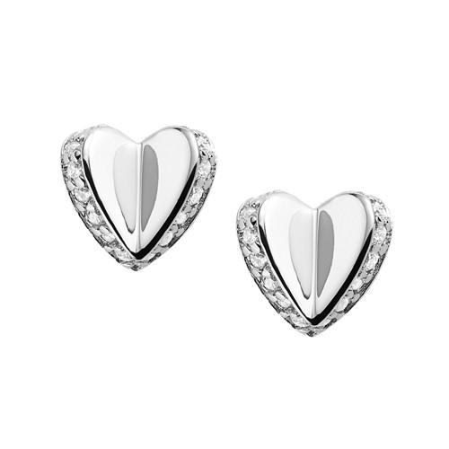 Fossil Sterling Silver Folded Heart Studs JFS00423040