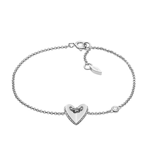 Fossil Sterling Silver Folded Heart Bracelet  Jewelry JFS00424040