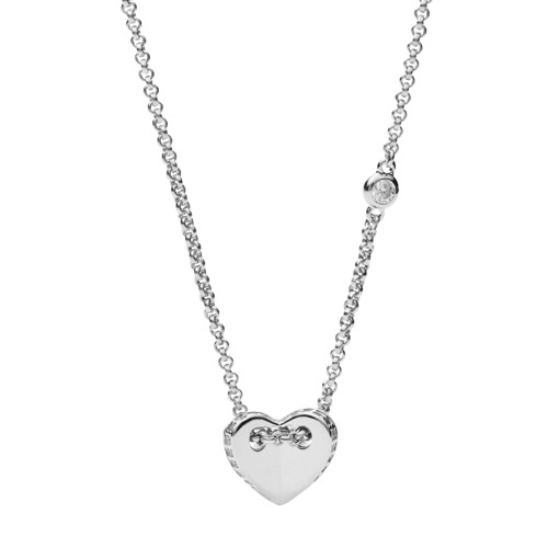 Fossil Sterling Silver Folded Heart Necklace JFS00425040