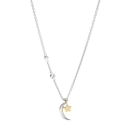 Sterling Silver Star and Crescent Moon Necklace JFS00432998