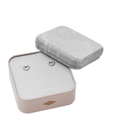 fossil Open Heart Sterling Silver Earrings Box Set JFS00457040