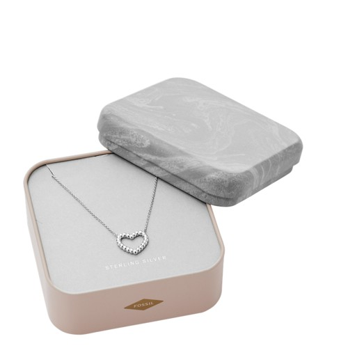 fossil Open Heart Sterling Silver Necklace Box Set JFS00459040