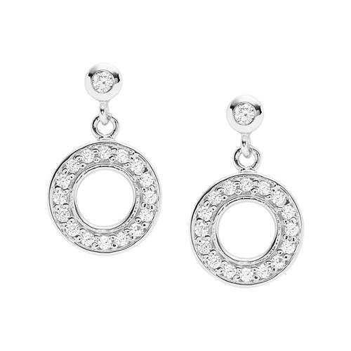 Open Disc Sterling Silver Drop Earrings JFS00473040