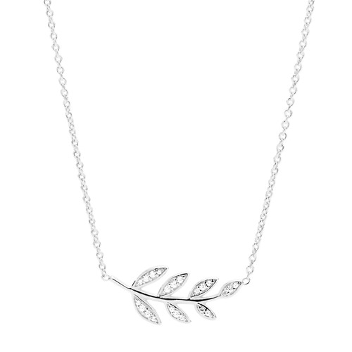 Olive Branch Sterling Silver Pendant Necklace JFS00485040