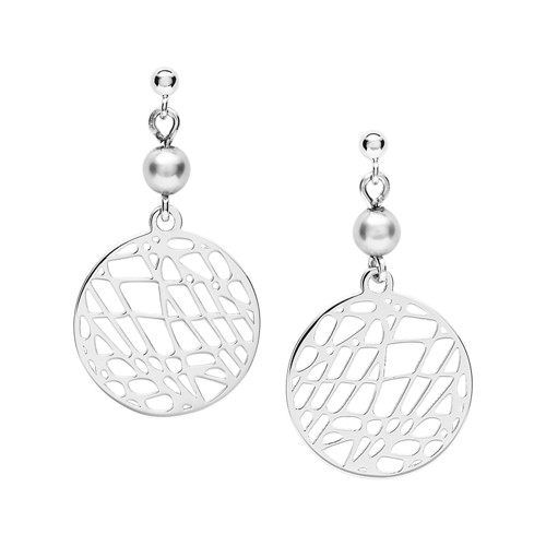 Abstract Cutout Sterling Silver Earrings JFS00486040