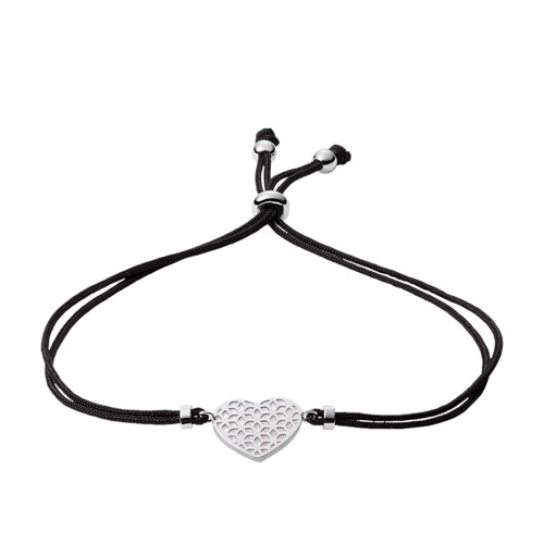 Heart Cutout Sterling Silver and Nylon Station Bracelet JFS00491040