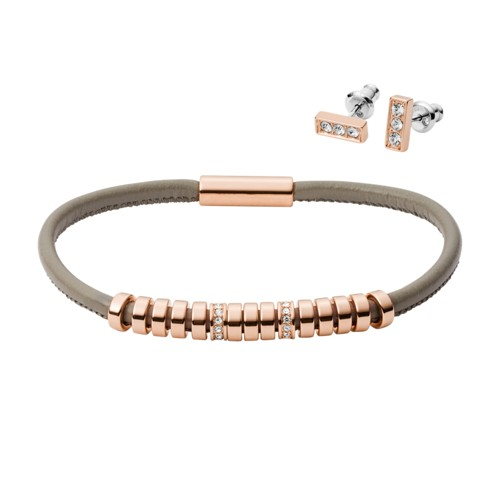 fossil Bar Rose Gold-Tone Stainless Steel Studs and Bracelet Box Set JGFTSET1038