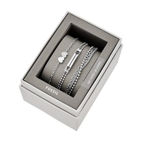 Fossil Silver-Tone Steel Bracelet Gift Set  jewelry JGFTSET1040