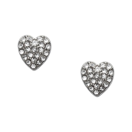 fossil Heart Silver-Tone Brass Studs JOA00041040