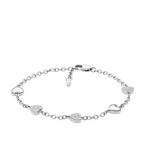 fossil Heart Silver-Tone Brass Bracelet JOA00326040