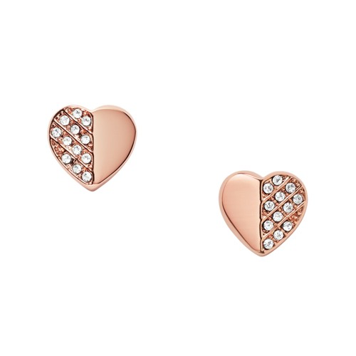 fossil Heart Rose Gold-Tone Brass Studs JOA00421791