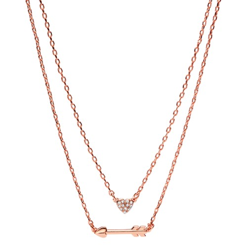 fossil Heart Rose Gold-Tone Brass Convertible Necklaces JOA00422791