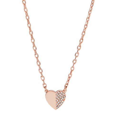 fossil Heart and Arrow Rose Gold-Tone Brass Necklace JOA00424791