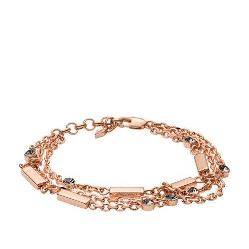 fossil Glitz Bar Multi-Chain Rose Gold-Tone Brass Bracelet JOA00437791