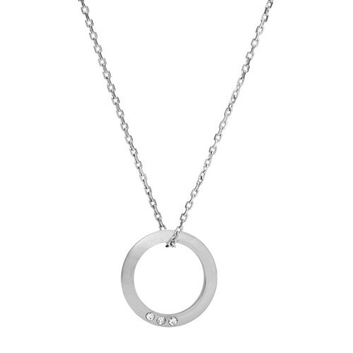 Open Circle Silver-Tone Brass Necklace JOA00445040