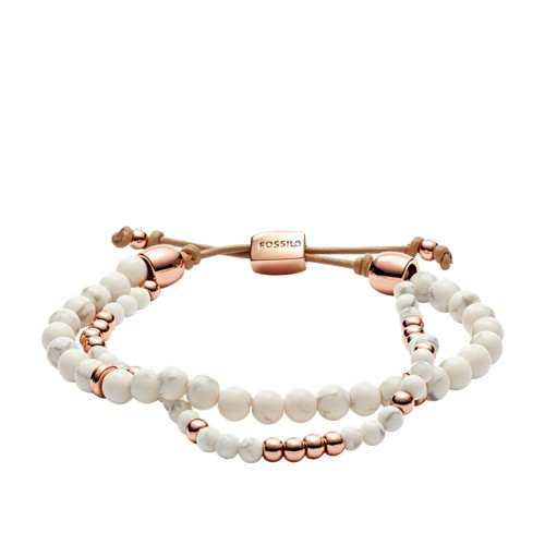 fossil Duo White Limestone Beaded Bracelet JOA00510791