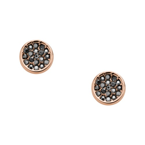 Pavé Disc Rose Gold-Tone Brass Studs JOA00530791
