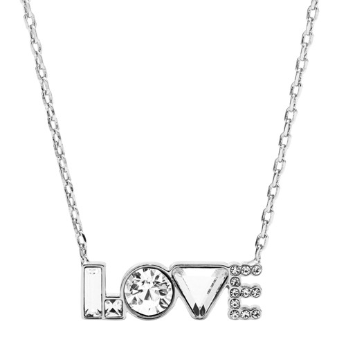 fossil Love Silver-Tone Brass Necklace JOA00551040