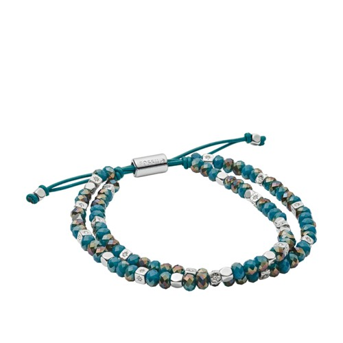 fossil Duo Deep Teal Glass Beaded Bracelet JOA00553040
