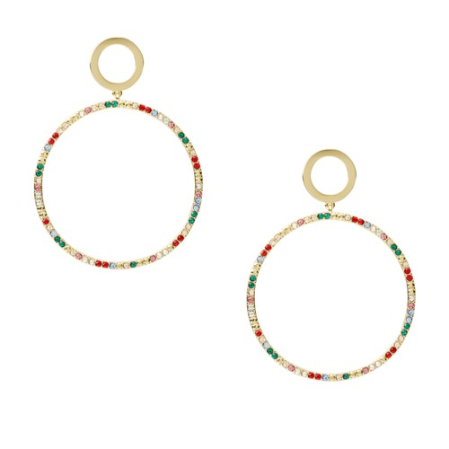 Multi-Colored Brass Drop Earrings JOA00561710