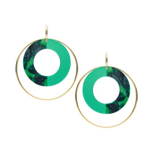 Green Acetate Hoop Earrings JOA00580710