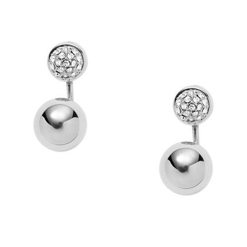 fossil Pavé Ball Stainless Steel Ear Jackets JOF00137040