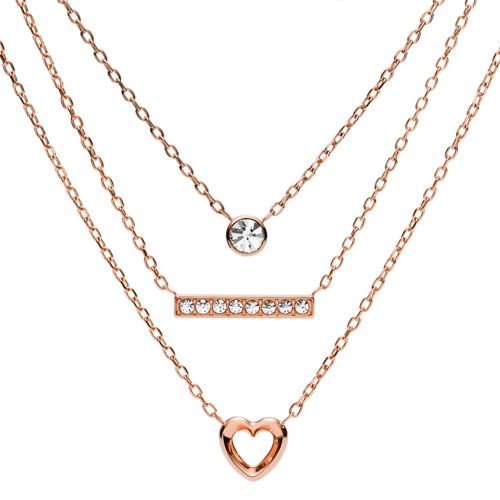 fossil Multi-Strand Rose Gold-Tone Steel Convertible Necklaces JOF00267791