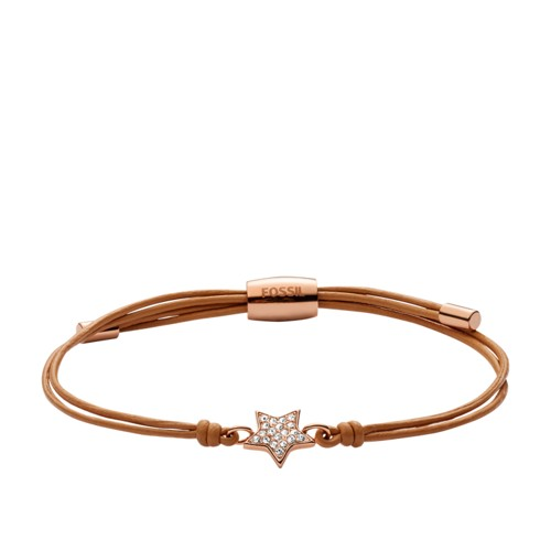 fossil Star Gold-Tone Leather Bracelet JOF00288791