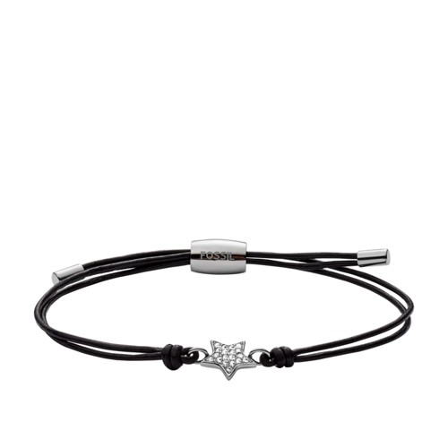 fossil Star Black Leather Bracelet JOF00289040