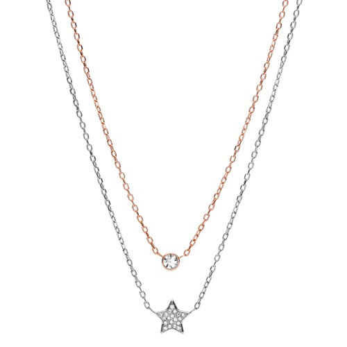 fossil Star and Circle Two-Tone Steel Convertible Necklaces JOF00296998