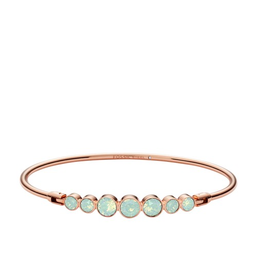 fossil Sea Green Glitz Rose Gold-Tone Steel Bracelet JOF00317791
